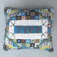 Beaded Patchwork Pincushion Early 19th c