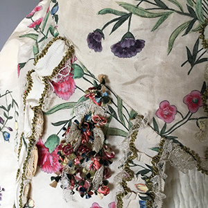 Hand Painted Chinese Gown Silk 1760s; Gown 1770s