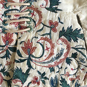 Embroidered Stays 1775-85;  Embroidery early 18th c.