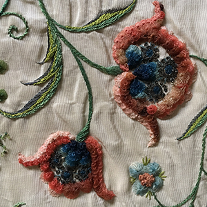 Horsehair Embroidered Tablecover Late 18th c